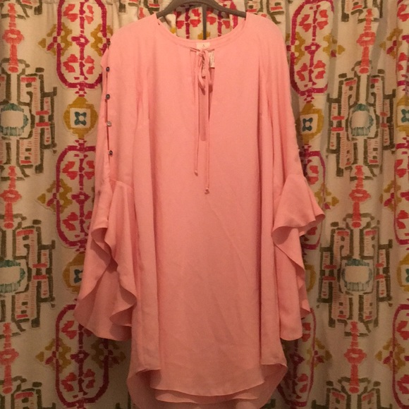 Free People Dresses & Skirts - Free People Light Pink Dress with bell sleeves